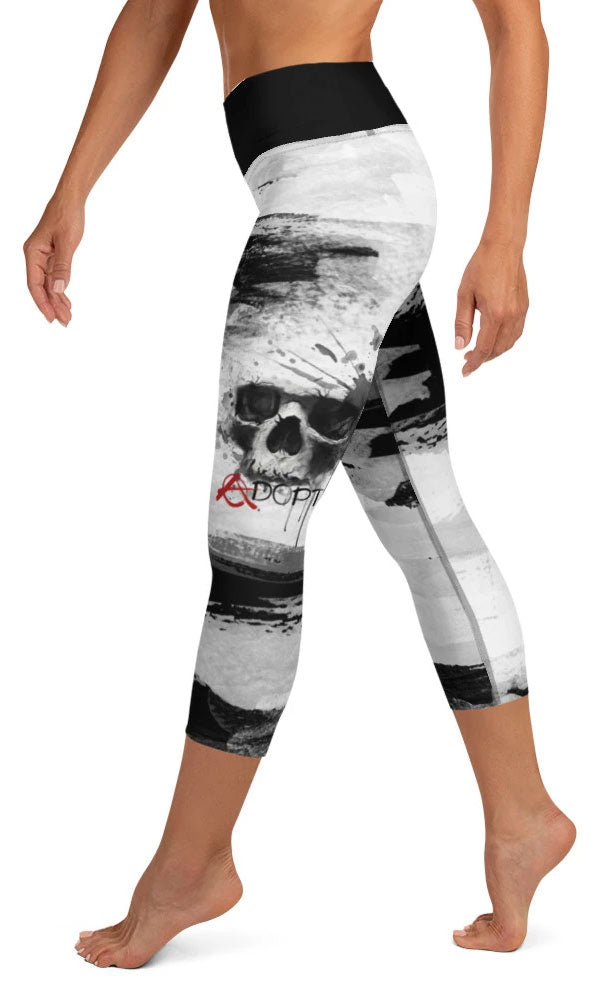 Skull Paint Yoga Capri Leggings - Legs Of Anarchy