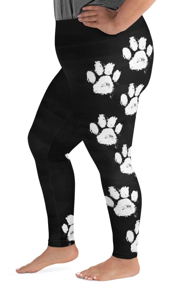 Paw Print Plus Size Leggings - Legs Of Anarchy