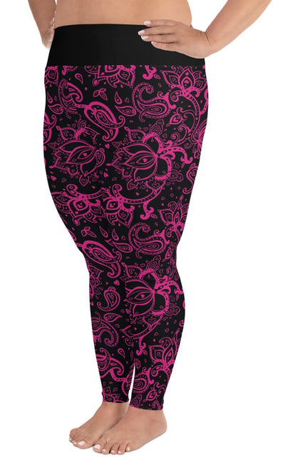 Hot Pink Paisley Plus Leggings - Legs Of Anarchy