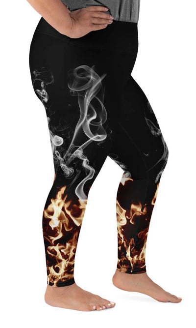 Flames Plus Size Leggings - Legs Of Anarchy