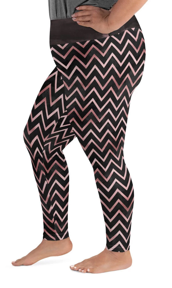 Rose Chevron Plus Size Leggings - Legs Of Anarchy