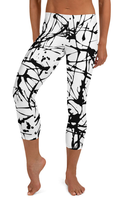 Paint Splatter Capri Leggings - Legs Of Anarchy
