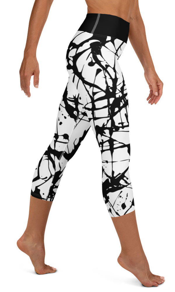 Paint Splatter Yoga Capri Leggings - Legs Of Anarchy