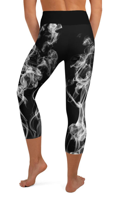 White Smoke Yoga Capri Leggings - Legs Of Anarchy