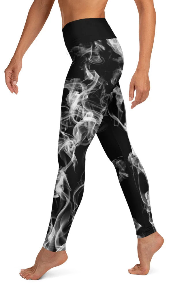 White Smoke Yoga Leggings - Legs Of Anarchy