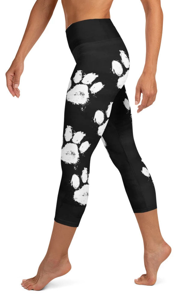 Paw Print Yoga Capri Leggings - Legs Of Anarchy