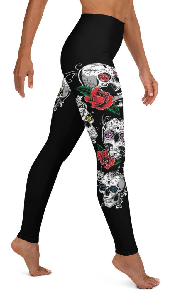 Sugar Skull Yoga Leggings - Legs Of Anarchy