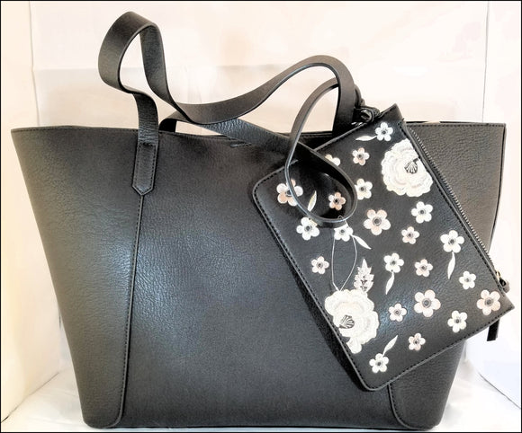 leather feel handbag black