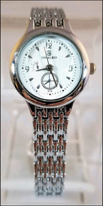 women's chrome plated metal band watch