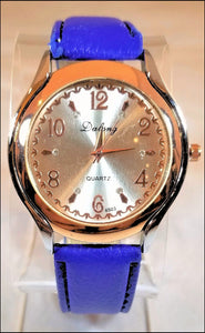 blue patent leather watches for men and women