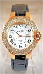 women's rhinestone watch with patent leather band