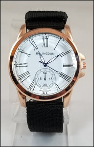 black fabric band watch for men and women