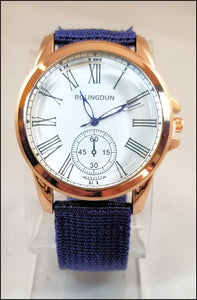blue fabric band watch for men and women