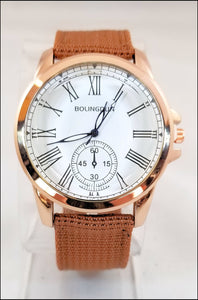 tan fabric band watch for men and women