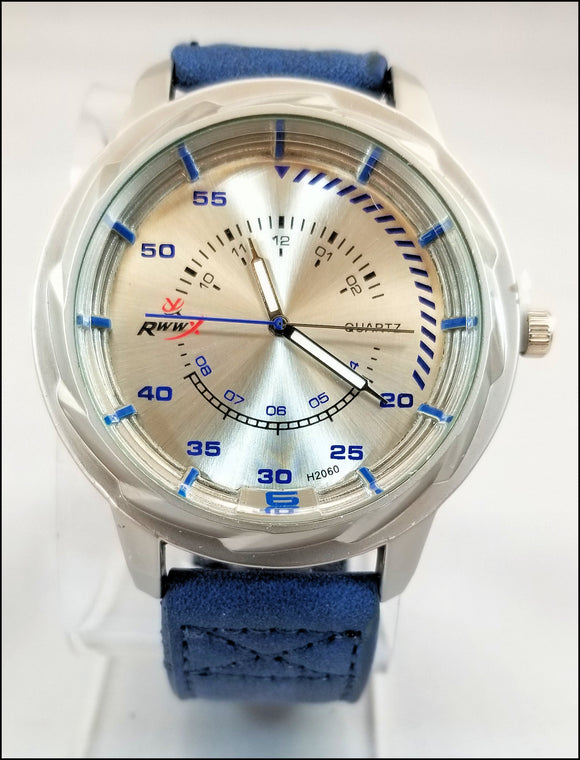 faux leather wrist watches for men and women blue