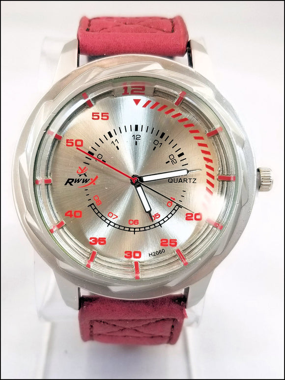 faux leather wrist watches for men and women red