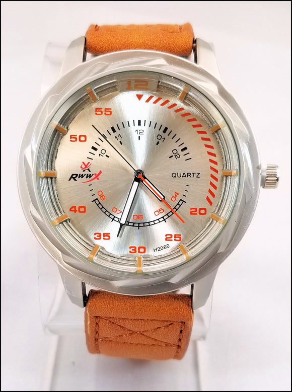 faux leather wrist watches for men and women tan