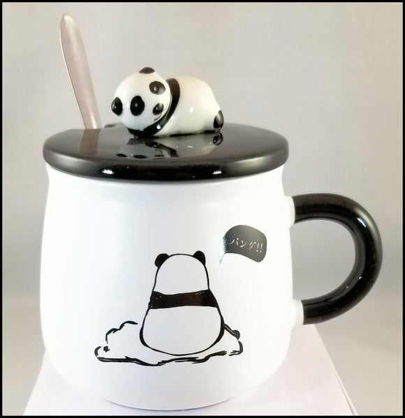 ceramic mug with lid - shy panda