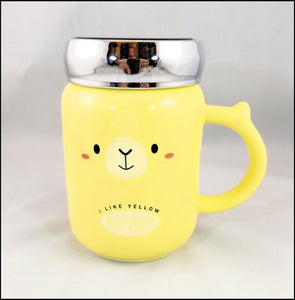 ceramic mug with lid - fun yellow alpaca - free shipping in USA only