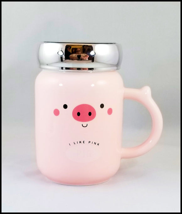 ceramic mug with lid - pink piggy - free shipping in USA only