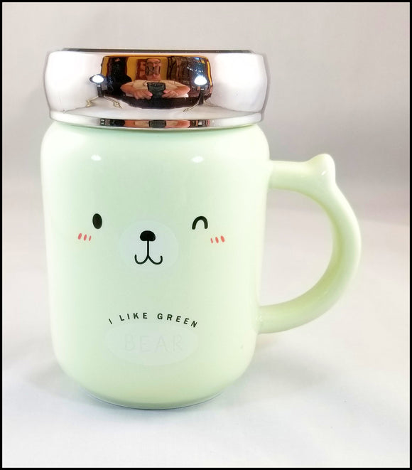 ceramic mug with lid- winking green bear - free shipping in USA only