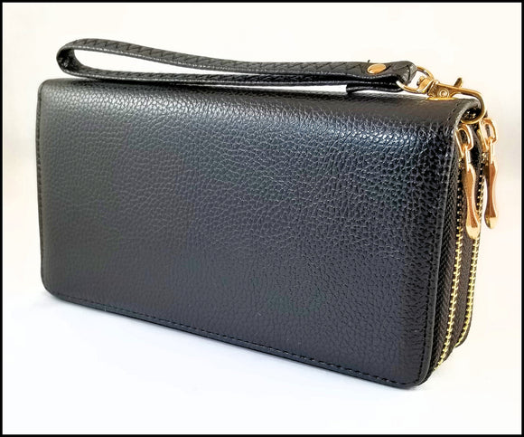 womens textured 2 zipper wallet black