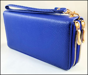 womens textured 2 zipper wallet blue