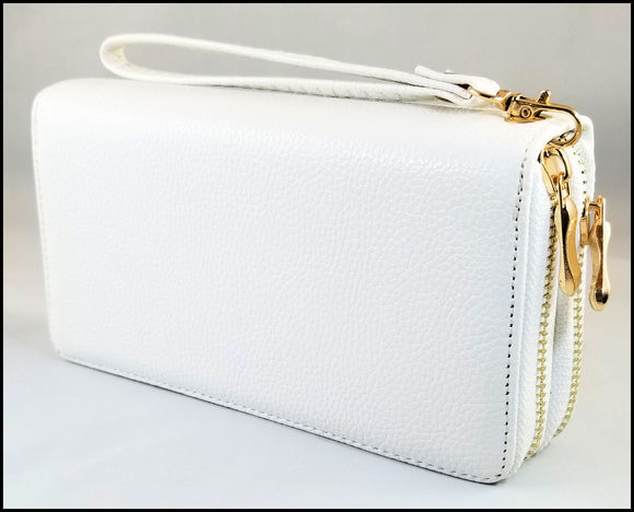 womens textured 2 zipper wallet white