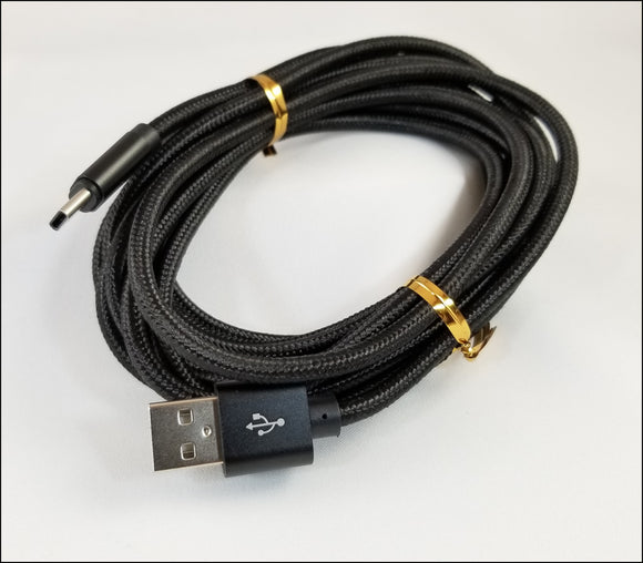 8 ft braided android type c charging cables - black  FREE SHIPPING