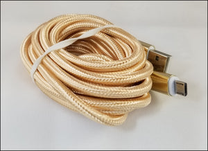 8 ft braided android micro usb charging cables - gold  FREE SHIPPING