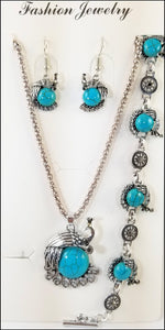 faux turquoise peacock 3 piece fashion jewelry necklace, bracelet and earring sets