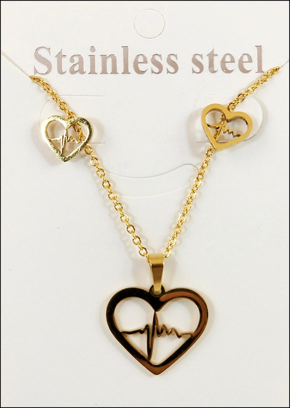 trendy fashion jewelry gold tone heart beat necklace and earring set