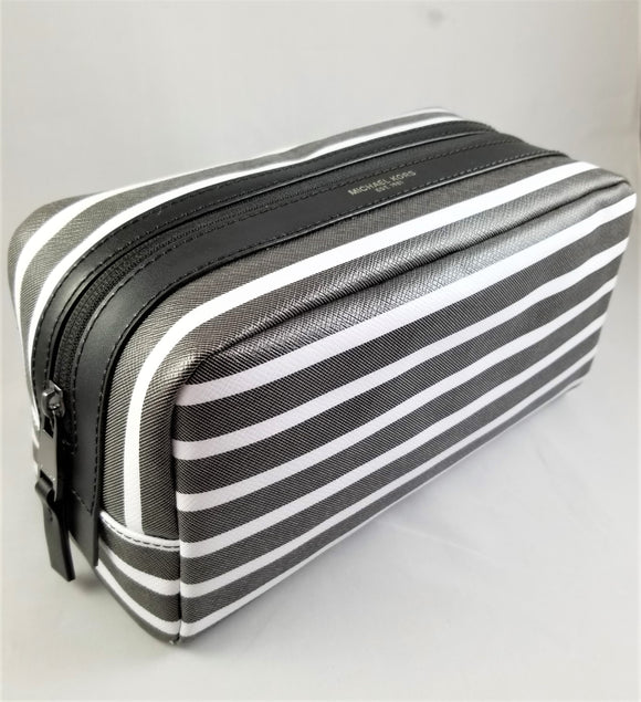 Michael Kors Kent Zippered Toiletry Holder Bag In Gray and White Stripes