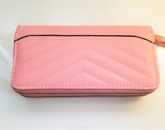 2 zipper wristlet wallet womens pink