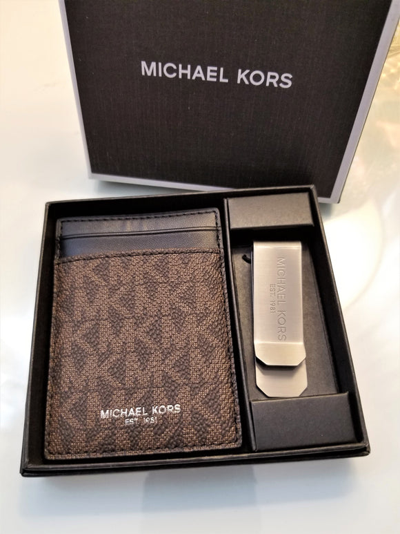 Michael Kors Jet Set Credit Card Holder With Money Clip Brown & Black