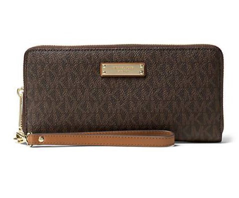 michael kors cooper large continental wristlet wallet mens womens unisex Brown