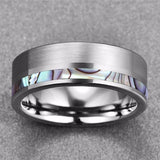 Abalone Shell Pattern Tungsten Carbide Ring for Men and Women