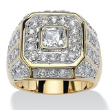 Luxurious Men's Gold Plated Cubic Zirconia Stone  Ring