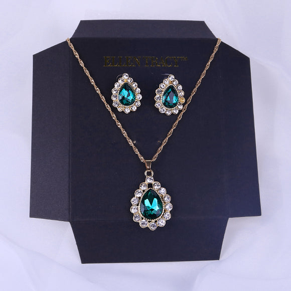 Vintage Style Necklace and Earrings Set With a Classic Water Drop Studded Rhinestone Pendant