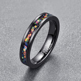Inlaid Faux Opal and Black Tungsten Steel Ring 4mm width