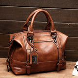 Genuine Leather Handbag brown