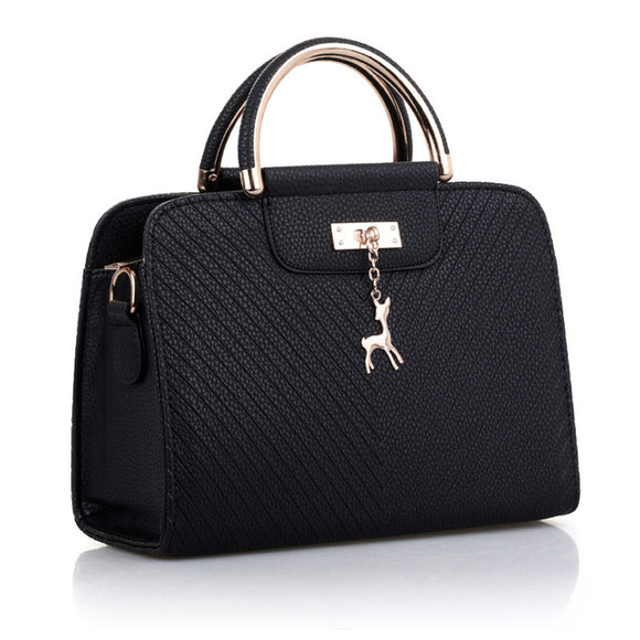 PU leather handbag black