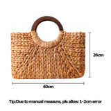 gorgeous light weight woven straw rattan tote bag tan
