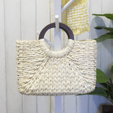 white gorgeous light weight woven straw rattan bag free shipping