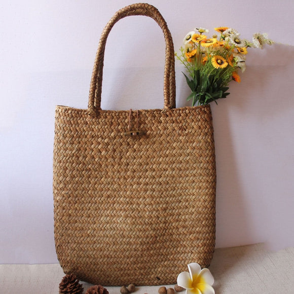 light weight woven straw rattan tote handbag