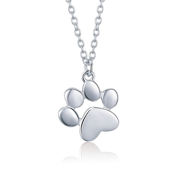 925 sterling silver necklace paw print