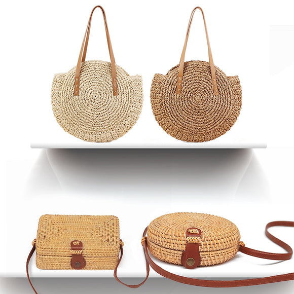 light weight woven straw rattan bag