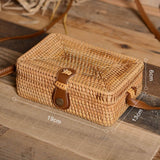 square light weight woven straw rattan bag