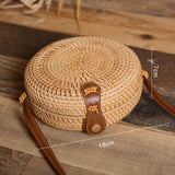 round light weight woven straw rattan bag