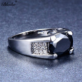 Men's Polished Silver Plated Ring With Black Stone and Clear Rhinestones